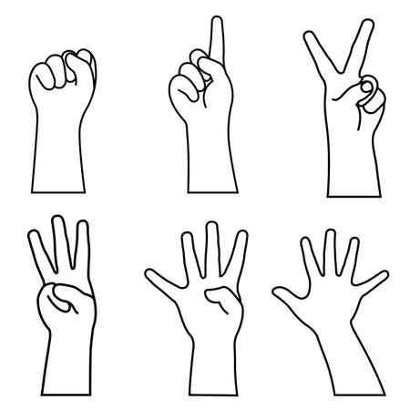 Childs hands many gesturing. vector illustration