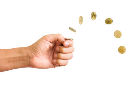 Hand flip a coin isolated on white background. with clipping path