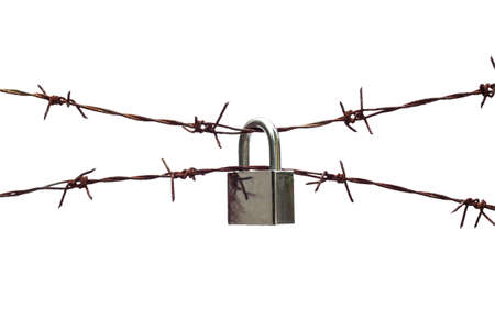 barbed wire fence: barbed wire with padlock on white background