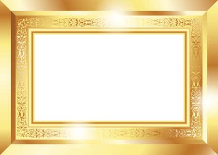 golden frame, decorative border, premium decor elements, vector illustration Ilustração