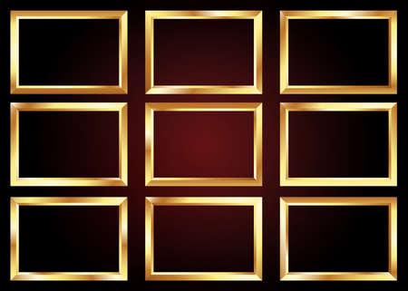 set of golden frame, decorative border, premium decor elements, vector illustration