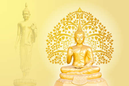 buddha statue on bodhi tree background, The important day of buddhist concept Banque d'images
