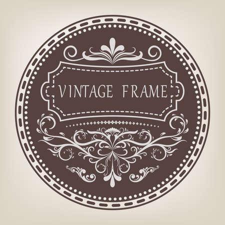 Circle frame with beautiful filigree and decorative border