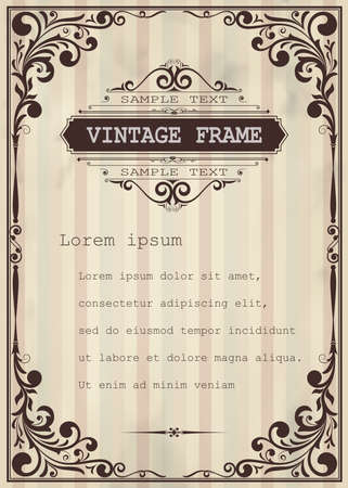 Frame with beautiful filigree and decorative border Vectores