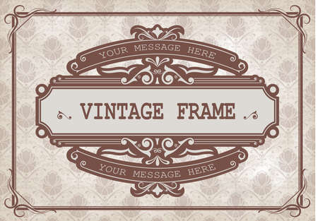 vintage frame with beautiful filigree and decorative border or premium invitation cards on ancient background , vector illustration Vectores