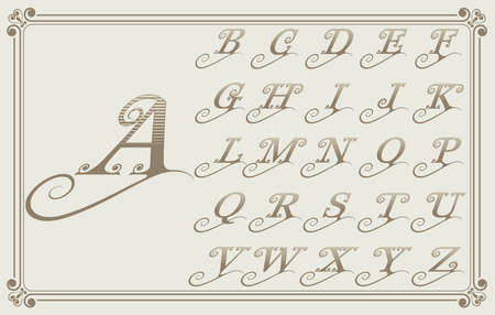 Vintage decorative font for monograms or label design with beautiful filigree, retro letter on ancient frame, ornament border, vector illustration