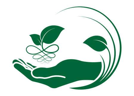 手のアイコンで葉。生態学的シンボルと兆候緑の自然概念、人間と植物のアイコン、ベクトルのイラスト