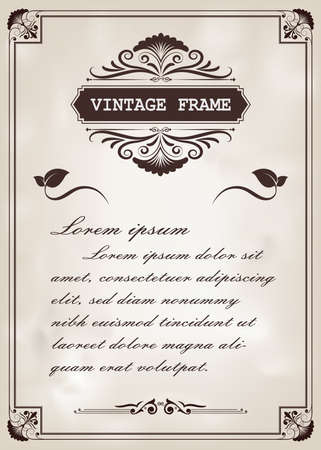 decorative frame in vintage style with beautiful filigree and retro border for premium invitation cards or luxury certificate on ancient background, ornament vector