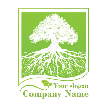 green tree template . nature icon design and ecology concept.