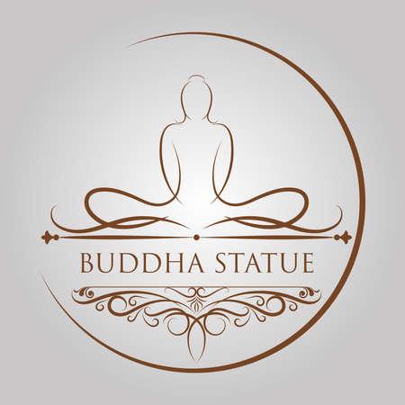 Estatua de Buda en tracería antigua y elemento caligráfico con marco vintage, el día importante del concepto budista, ilustración vectorial