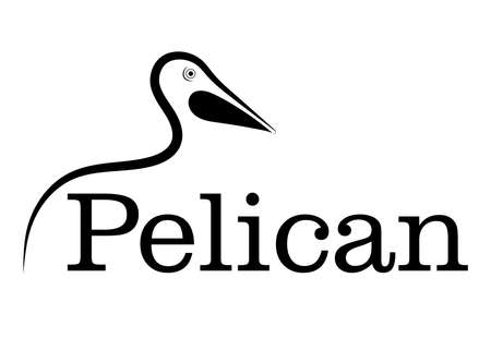 pelican line drawing on white background, design for deccorative icon,  Vector illustration Фото со стока