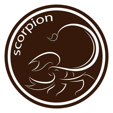 scorpions line drawing on brown background, design for deccorative icon and logo,  Vector illustration Illusztráció