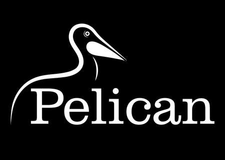 pelican line drawing on black background, design for deccorative icon,  Vector illustration