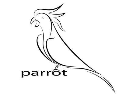 papegaai lijntekening op witte achtergrond, ontwerp voor decoratieve pictogram, vectorillustratie