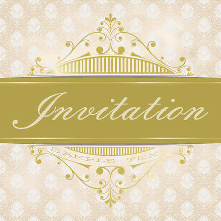golden decorative frame in vintage style with beautiful filigree and retro border for premium invitation cards or luxury certificate on ancient background, ornament vector