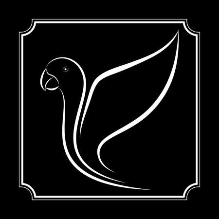 parrot line drawing on brown background, design for deccorative icon and logo, Vector illustration Logos