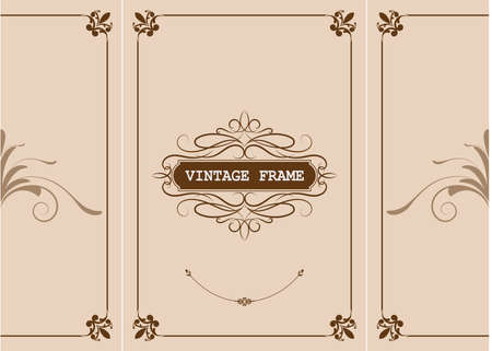 decorative frame in vintage style with beautiful filigree and retro border for premium invitation or wedding card on ancient background, ornament vector