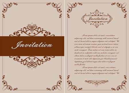 decorative frame in vintage style with beautiful filigree and retro border for premium invitation or wedding card on ancient background, luxury postcard, ornament vector