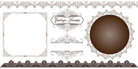 set of decorative frame in vintage style with beautiful filigree and retro border for premium invitation cards or luxury certificate on ancient background, ornament vector Vectores