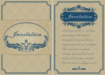 Premium-Einladung oder Hochzeitskarte im dekorativen goldenen Rahmen der Weinlese mit schönem filigranem und Retro-Rand auf altem Hintergrund, Luxuspostkarte, Verzierungsvektor