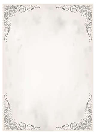 dekorativer Rahmen im Vintage-Stil mit schönem filigranen und Retro-Rand für Premium-Einladung oder Hochzeitskarte auf altem Hintergrund, Luxuspostkarte, Verzierungsvektor