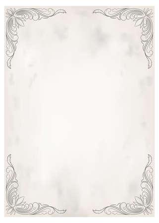 marco decorativo en estilo vintage con hermosa filigrana y borde retro para invitación premium o tarjeta de boda sobre fondo antiguo, postal de lujo, vector de adorno