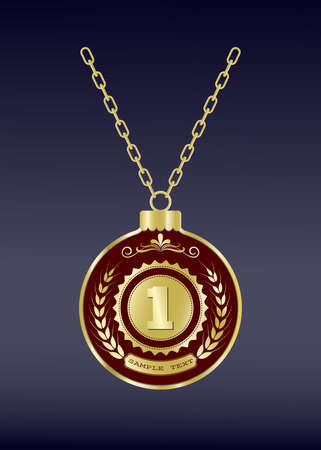 Luxury gold badges and sports medals or  premium quality product in vintage style, vector illustration Ilustrace