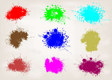 set of paint splashes design, colorful abstract. vector illustration