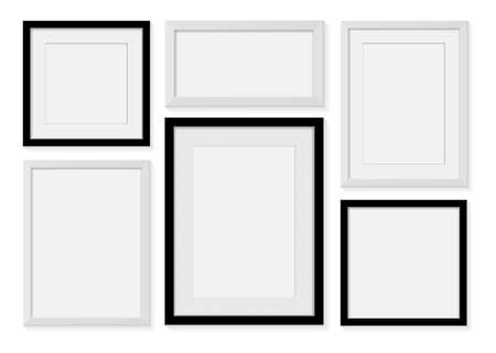 blank picture frame for photographs or text Isolated  on gray background. Vector illustration
