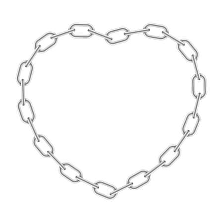 Heart shaped chain frame. silver border Isolated on white background. Vector illustration