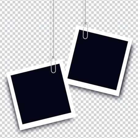 Retro realistic photo frame with paper clip isolated on transparent background for template photo design. vector illustration Illustration