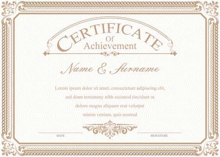 Certyfikat lub dyplom w stylu vintage i ilustracji wektorowych szablon projektu retro Ilustracje wektorowe
