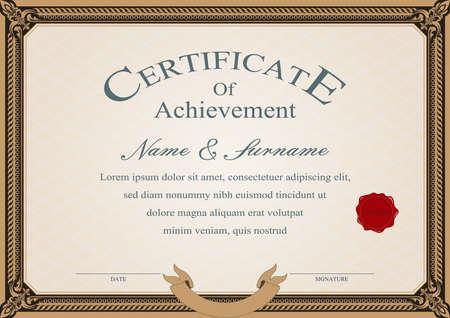 Certificado o diploma de estilo vintage y plantilla de diseño retro ilustración vectorial