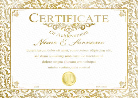 Certificate or diploma vintage style and retro design template vector illustration Vector Illustration