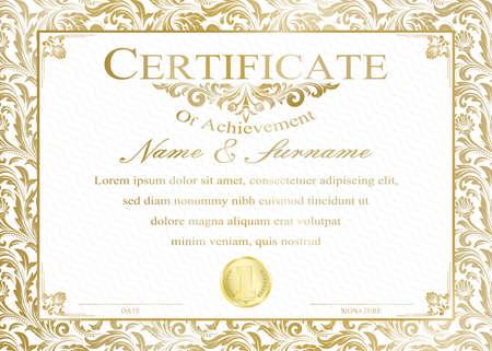Certificato o diploma in stile vintage e modello di design retrò illustrazione vettoriale Vettoriali