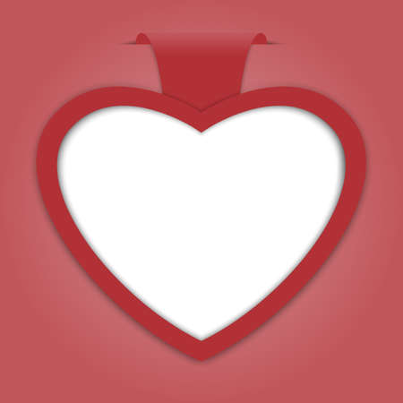 Empty paper label with heart shape on red background for advertising and design for valentine card. Vector illustration