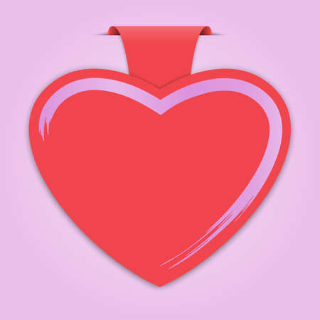 Empty paper label with heart shape on pink background for advertising and design for valentine card. Vector illustration
