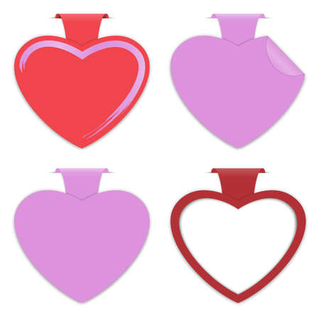 Empty paper label with heart shape on white background for advertising and design for valentine card. Vector illustration Illustration
