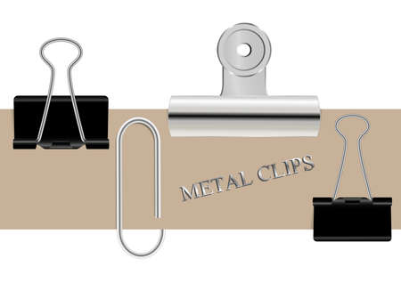 set of metallic paper clips isolated on white background 向量圖像