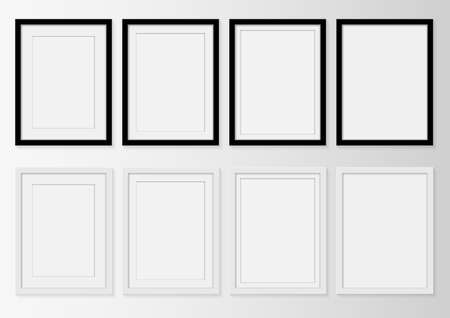 set of picture frame for photographs or text Isolated  on gray background. Vector illustration