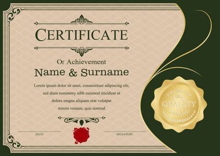 Certificate or diploma modern style and design template with paper sheet, Award background. vector illustration