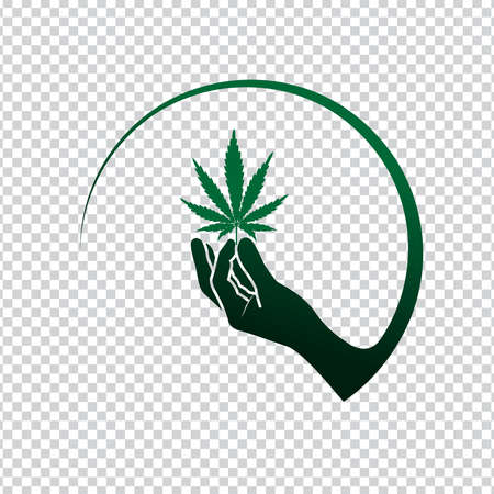 hand with marijuana leaf Isolated on white,  Cannabis Icon and logo graphic template. vector illustration.