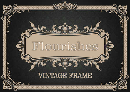 decorative frame with beautiful filigree and retro border in vintage style for luxury postcard , certificate,  premium invitation or wedding card on ancient background, ornament vector Ilustracja
