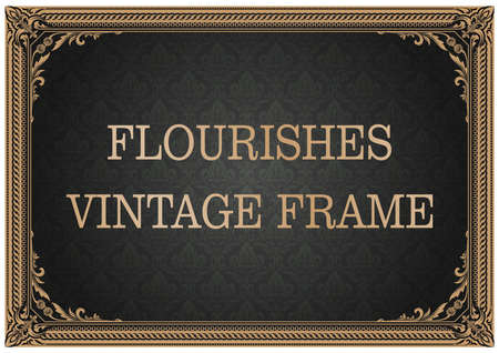 decorative frame with beautiful filigree and retro border in vintage style for luxury postcard , certificate,  premium invitation or wedding card on ancient background, ornament vector Vectores