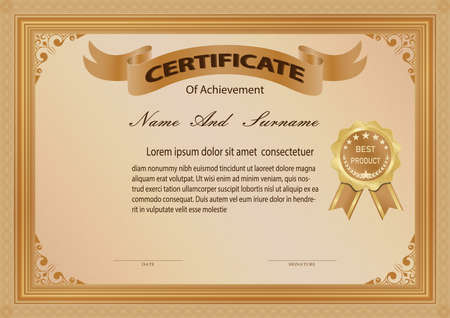 Certificate or diploma vintage style and design template with retro frame or ancient border. vector illustration Vektorgrafik