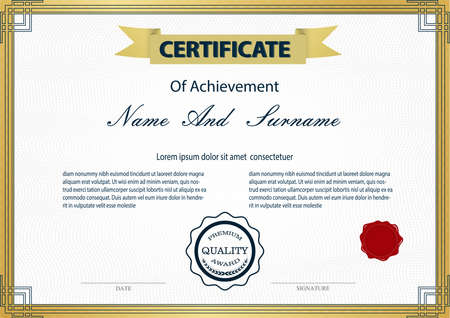 Certificate or diploma vintage style and design template with paper sheet. vector illustration Vector Illustration