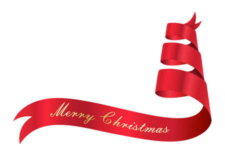 red ribbon banner with merry christmas message  isolated on white background, vector illustration