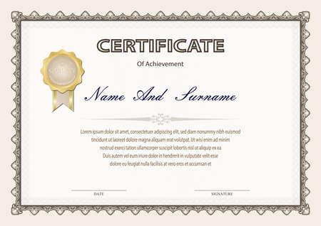 Certificado o diploma de estilo vintage y plantilla de diseño con hoja de papel. ilustración vectorial