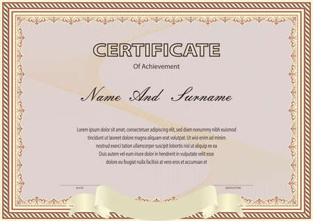 Certificate or diploma vintage style and design template with paper sheet. vector illustration