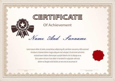 Certificato o diploma stile vintage e modello di design con foglio di carta. illustrazione vettoriale